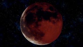 Pleine éclipse lunaire réaliste Illustration de la lune 3D de sang illustration libre de droits