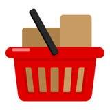 Pleine icône plate rouge de panier à provisions sur le blanc illustration stock