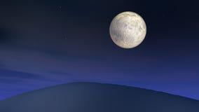 Pleine lune au-dessus de côte Photographie stock