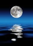 Pleine lune au-dessus de l'eau Photographie stock libre de droits