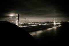 Pleine lune au-dessus du Golden Gate Image stock
