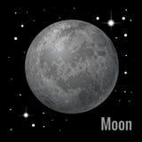 Pleine lune avec l'étoile au fond foncé de ciel nocturne Illustration isométrique du vecteur 3d plat Collection de planètes illustration libre de droits