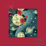 Pleine lune avec les cratères, étoiles de planètes dans le ciel nocturne Carte de voeux de joyeux anniversaire dans le cadre roug illustration de vecteur