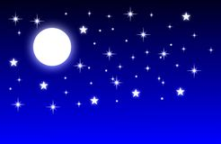 Pleine lune de nuit avec le fond bleu illustration libre de droits