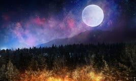 Pleine lune en ciel étoilé de nuit Image libre de droits