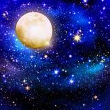 Pleine lune sur cieux étoilés Image stock