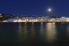 Pleine lune sur Mykonos Photographie stock libre de droits