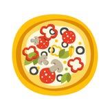 Pleine pizza ronde avec l'icône primitive de bande dessinée de pepperoni, une partie de série de café de pizza d'illustrations de Images libres de droits
