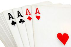 Pleine plate-forme de jouer des cartes avec quatre as sur le dessus Photos stock