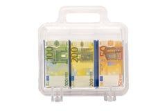 pleine valise d'argent Photographie stock