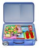 Pleine valise de vacances de vacances illustration libre de droits