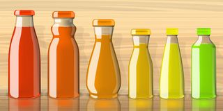 Pleines bouteilles de jus sur la maquette transparente de fond illustration libre de droits
