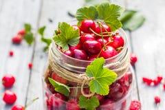 Pleines cerises et groseilles de fruits de pot en verre images libres de droits