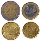 Pleines euro pièces de monnaie réglées - partie Photo libre de droits