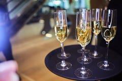 Pleines glaces de champagne sur le plateau Image stock