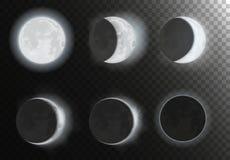 Pleines phases de planète de nouvelle lune de nuit sur le ciel de galaxie de nuit Astronomie d'espace de nuit illustration libre de droits