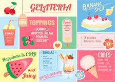 Pleismat, one-page menu for ice cream and drinks for cafes, bars. Restaurants. Vector Illustration of Eps10 Royalty Free Stock Images