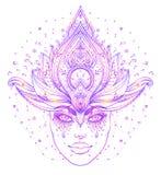 Plemienna fuzi Boho diwa Pięknego azjata boska dziewczyna z ozdobnym royalty ilustracja