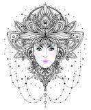 Plemienna fuzi Boho diwa Pięknego azjata boska dziewczyna z ozdobnym ilustracja wektor