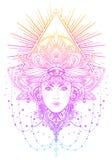 Plemienna fuzi Boho diwa Pięknego azjata boska dziewczyna z ozdobnym ilustracji