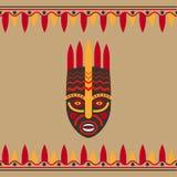 Plemienna styl karta z maską ilustracja wektor