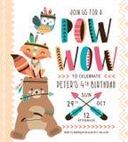 Plemienna urodzinowa zaproszenie karta ilustracja wektor