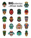 Plemienne afrykanin maski ustawiać ilustracja wektor