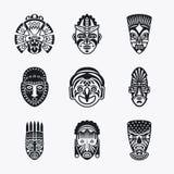 Plemienne, etniczne maskowe ikony, ilustracja wektor