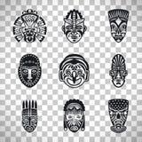 Plemienne maskowe ikony na przejrzystym tle royalty ilustracja
