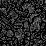 Plemiennego abstrakcjonistycznego rodzimego chalkboard bezszwowy wzór Fotografia Royalty Free