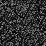 Plemiennego abstrakcjonistycznego rodzimego chalkboard bezszwowy wzór Zdjęcia Royalty Free