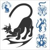 Plemienni koty dla tatuażu - wektoru set Obraz Stock