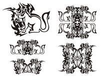 Plemienni płomienni wiewiórczy symbole czarny biel Obrazy Royalty Free