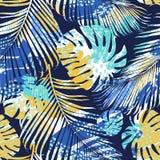 Plemienny bezszwowy wzór z abstrakcjonistycznymi liśćmi remisu ręki papieru watercolours rabatowy bobek opuszczać dębowego fabork Fotografia Royalty Free