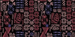 Plemienny deseniowy wektor z bezszwowego egipskiego symbolu antycznym stylem Rocznika ilustracyjny tło dla moda tekstylnego druku royalty ilustracja