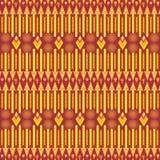 Plemienny etniczny kolorowy żywy wielostrzałowy wzór w czerwieni i kolorze żółtym royalty ilustracja