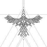 Plemienny geometryczny kruka tatuaż, wektorowa ilustracja Zdjęcia Stock