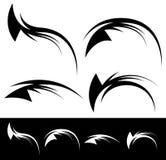 Plemienny jak tatuaży elementy - Dynamiczni swooshes, zawijasy royalty ilustracja