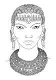 Plemienny królowa konturu wektor Fotografia Stock