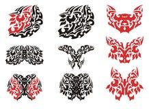 Plemienny motyla skrzydła tatuaż i motyli tatuaże Zdjęcie Stock