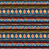 plemienny projektu Bezszwowy afrykanina wzór przy czarnym tłem Rocznik akwarela Obrazy Stock