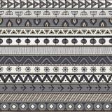 Plemienny szary bezszwowy wzór, hindus lub afrykański etniczny patchworku styl, ilustracji