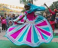 PLEMIENNY tancerz OD UDAIPUR okręgu, RAJASTHAN, INDIA Obrazy Stock