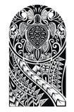Plemienny tatuaż z żółwiem ilustracja wektor