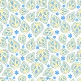 Plemienny wzór w żółtych i błękita kolorach Ilustracji