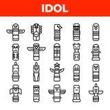 Plemiennych Antycznych idolów Wektorowe Liniowe ikony Ustawiać royalty ilustracja