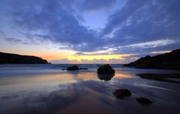 Plemont Bay in Jersey. Plemont Bay at sunset, Jersey, Channel Islands Royalty Free Stock Photos