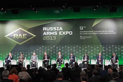 Plenary discussion. NIZHNY TAGIL, RUSSIA - SEP 25: Plenary discussion Innovation and quality: the formula of success in the arms market with the participation of Royalty Free Stock Images