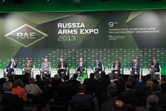 Plenary discussion. NIZHNY TAGIL, RUSSIA - SEP 25: Plenary discussion Innovation and quality: the formula of success in the arms market with the participation of Royalty Free Stock Photography
