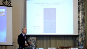 Plenary thesis of Nobel Prize Laureate in chemistry Roger Kornberg stock video